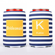 Navy Stripe Personalized Can Cooler