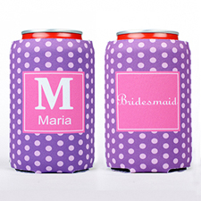 Purple Polka Dot Personalized Can Cooler