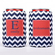 Navy Zig Zag Personalized Can Cooler