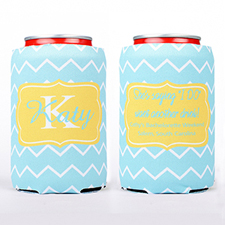Ocean Chevron Personalized Can Cooler