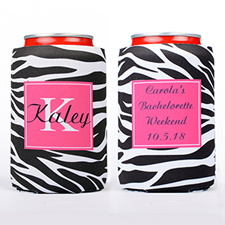 Zebra Skin Personalized Can Cooler
