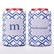 Navy Square Personalized Can Cooler