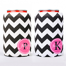 Black Chevron Fuchsia Frame Personalized Can Cooler