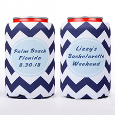 Navy Chevron Blue Personalized Can Cooler