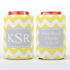 Lemon Chevron Grey Personalized Can Cooler