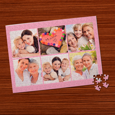 Personalized Baby Pink 6 Collage 12X16.5 Photo Puzzle