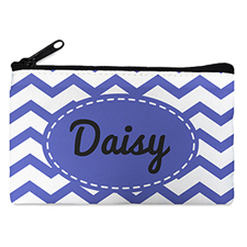 Blue Chevron Personalized Small Cosmetic Bag (4