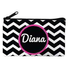 Black Chevron Personalized Small Cosmetic Bag (4