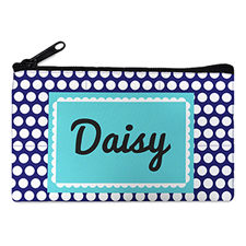 Navy Dot Personalized Small Cosmetic Bag (4
