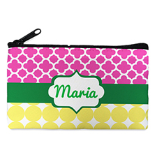 Fuchsia And Mustard Personalized Small Cosmetic Bag (4