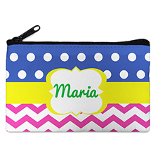 Dots And Chevron Personalized Small Cosmetic Bag (4