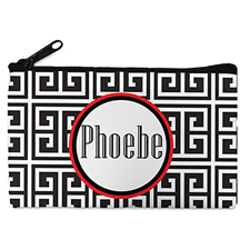 Black Grid Personalized Small Cosmetic Bag (4