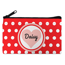 Red Dot Heart Personalized Small Cosmetic Bag (4