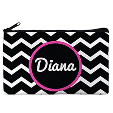 Monogrammed Personalized Black Chevron Cosmetic Bag