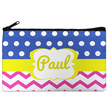 Dots And Chevron Personalized Cosmetic Bag