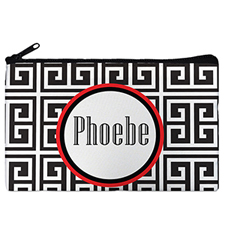Black Grid Personalized Cosmetic Bag