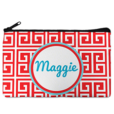Red Grid Personalized Cosmetic Bag