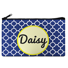 Navy Clover Monogrammed Personalized Cosmetic Bag, 5 X 8