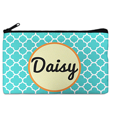 Aqua Clover Monogrammed Personalized Cosmetic Bag, 5 x 8