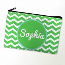 Monogram Personalized Green Chevron Cosmetic Bag