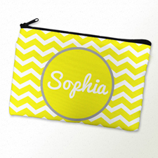 Monogrammed Personalized Yellow Chevron Cosmetic Bag