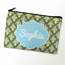 Green Vintage Personalized Cosmetic Bag