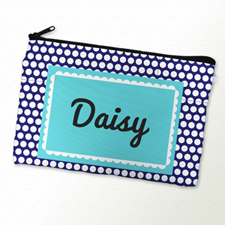 Navy Dots Personalized Cosmetic Bag