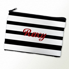 Black Stripe Personalized Cosmetic Bag