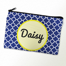 Navy Clover Personalized Cosmetic Bag