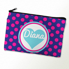 Fuchsia Dot And Heart Personalized Cosmetic Bag