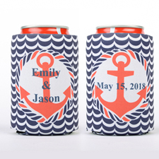Navy Red Anchor Personalized Can Cooler