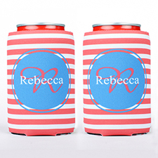 Red Strip Personalized Can Cooler