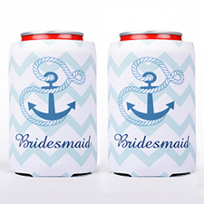 Mint Chevron Anchor Personalized Can Cooler