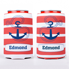 Red Strap Anchor Personalized Can Cooler