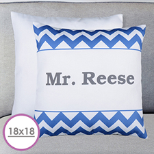 18 X 18 Blue Chevron Personalized Pillow  Cushion (No Insert)