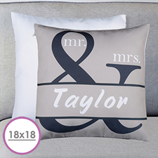 Mr. And Mrs. Personalized Name Large Cushion 18