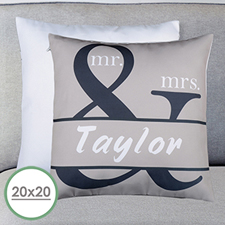Mr. And Mrs. Personalized Name Large Pillow Cushion Cover 20