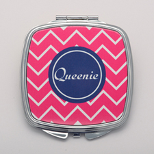 Fuchsia Chevron Navy Personalized Square Compact Mirror