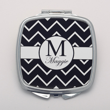Black Chevron White Personalized Square Compact Mirror