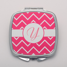 Fuchsia Chevron White Personalized Square Compact Mirror