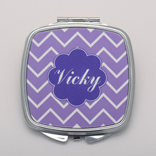 Lavender Chevron Personalized Square Compact Mirror