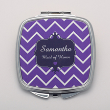 Plum Chevron Navy Personalized Square Compact Mirror