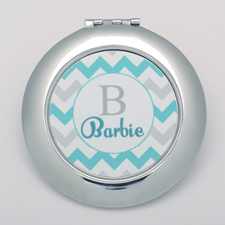Aqua Grey Chevron Personalized Round Compact Mirror
