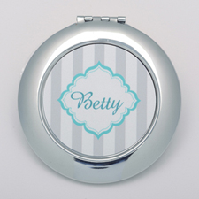 Monogrammed Grey Stripe Personalized Round Compact Mirror