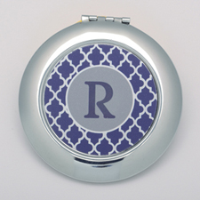 Navy Quatrefoil Personalized Round Compact Mirror