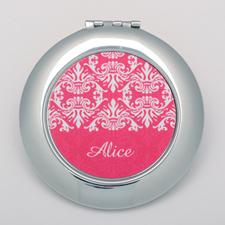 Fuchsia Damask Round Personalized Compact Mirror