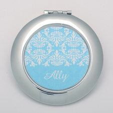 Aqua Damask Round Personalized Compact Mirror