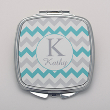 Aqua Grey Chevron Personalized Square Compact Mirror