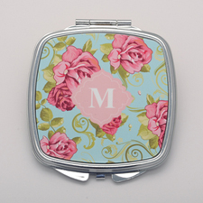Vintage Rose Personalized Square Compact Mirror