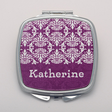 Plum Damask Personalized Square Compact Mirror